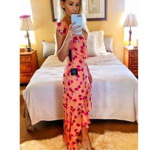 NEW Lulu's Sexy Pink Orange Maxi Dress XS XSmall